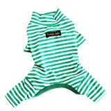 Hdwk&Hped Soft Cotton Dog Pajamas, Light Green Stripes Small Dog Puppy Cat Bottoming Jumpsuit #5