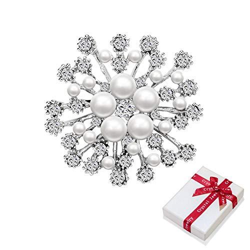 Broche de flor brillante con perlas y pedrería, vestido de novia brillante...