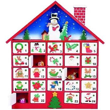 Premier Decoration Wooden Advent House, 40cm, Multi-Colour