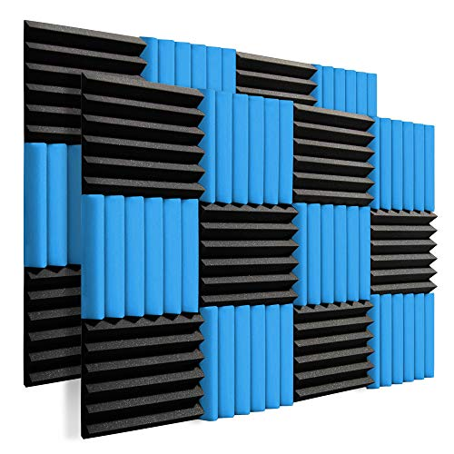 24 Pack 2'x12'x12' Soundproofing Acoustic Foam Fireproof Studio Sound Absorption Pyramid Treatment High Density Wall Padding Foam Wedge Tiles Sound Blocking/Absorbing/Noise Dampening Foam (Black&blue)