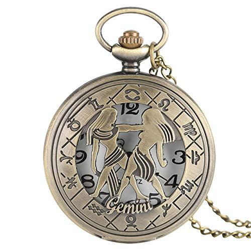 UIEMMY Taschenuhr 12 Sternbilder Astrologie Sternzeichen Retro Taschenuhr Bronze Halskette Anhänger Herren Damen hohl Flip Cover Quarz Zwillinge
