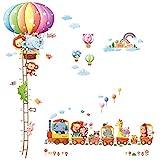DECOWALL DA-1606N1406A 動物熱気球 高さくらべ 動物電車 ウォール ステッカー デコ 幼稚園 保育園 子供部屋 DIY 用 壁転写 シール ウォールアート シール 男の子 女の子 10代 こども バスルーム デコレーション ビニール 寝室用 ティーン キッズ