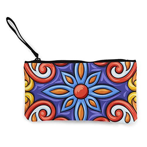 Moneda de lona, talavera mexicana con patrón de azulejos de cerámica étnico, bolso de cosméticos con cremallera, bolsa de maquillaje multifunción para teléfono móvil, bolsa de lápiz con asa