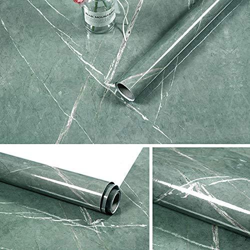 Yizunnu 60x500cm Rollo de papel de contacto autoadhesivo de mármol, papel pintado de cáscara y pegar, etiqueta de pared para cocina, decoración de muebles, encimera … (Verde)