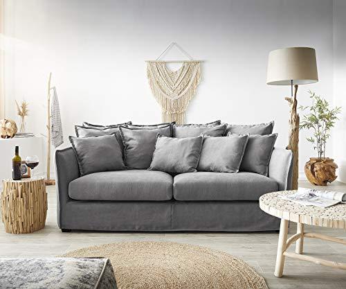 DELIFE Couch Ayla Grau 208x139 cm mit Kissen Hussensofa