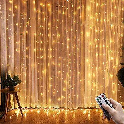 J & J 600-LED Cortina de la Ventana Luz de Navidad Alambre de Cobre USB Control Remoto 8 Modos con Gancho para la decoración del Dormitorio,Warm White