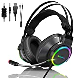 Cascos Gaming PS5/PS4/PC/Mac/Xbox One,Manwe Auriculares Gaming con Microfono,Reducción de Ruido, Sonido Envolvente, USB y Jack Audio 3, 5mm con Luz LED.