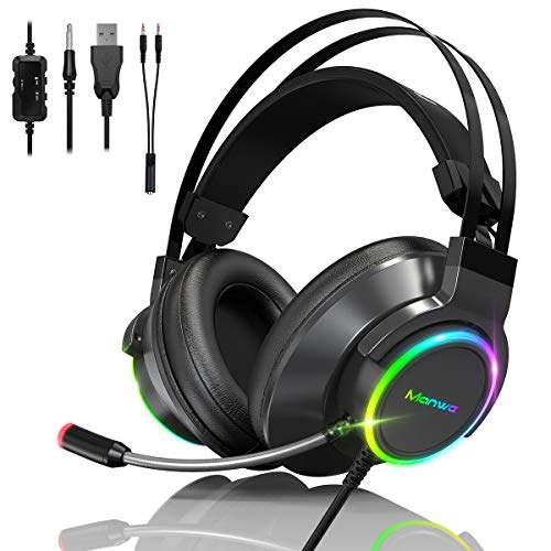 Manwe Auriculares Gaming PS5 Auriculares con Microfono, PC/Mac/Xbox One/PS4/PS5/Nintendo Switch Reducción de Ruido, Sonido Envolvente, USB y Jack Audio 3, 5mm con Luz LED.