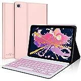 Keyboard Case for Samsung Galaxy Tab S6 Lite 10.4 2020,Boriyuan Backlit Bluetooth Keyboard with Ultra Thin Flip Smart Case for Galaxy Tab S6 Lite SM-P610/P615,Rose Gold