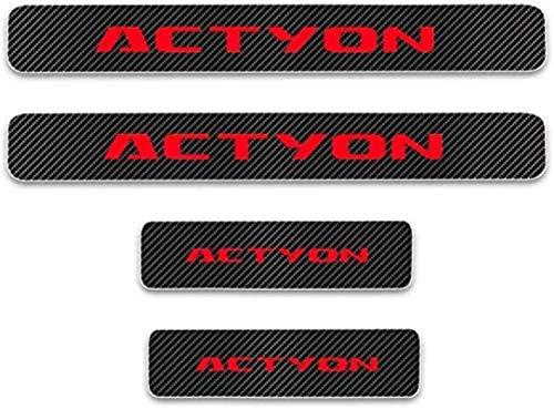 HAOHAO Anti-Kratz-Platte für Autoschwelle für Passend für 4 Stück Externes Carbon-Faser-Leder-Auto Kick-Platten Pedal for SsangYong Actyon, Einstieg Willkommen Pedal-Tritt Scuff Threshold Bar Pr.