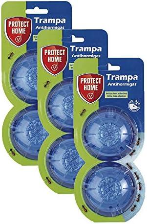 Protect Home Cebo para Hormigas en Gel, antihormigas para Uso Interior y Exterior, 2 trampas (Pack de 3), Azul, Talla Única