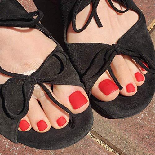 Yienate - Uñas postizas para el dedo del pie, elegante y exquisita nupcia, escarlata, escarlata, uñas postizas, 24 unidades
