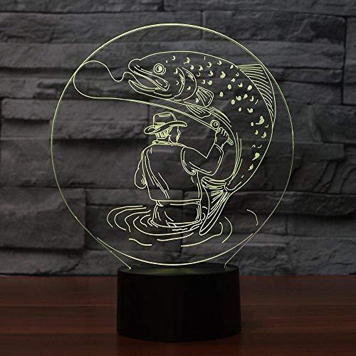 Lámpara de ilusión 3D, luz de noche Led, lámpara de mesa con forma de hombre de pesca, USB, 7 colores, cambio de color, toque remoto, humor para niños, regalo, decoración del hogar