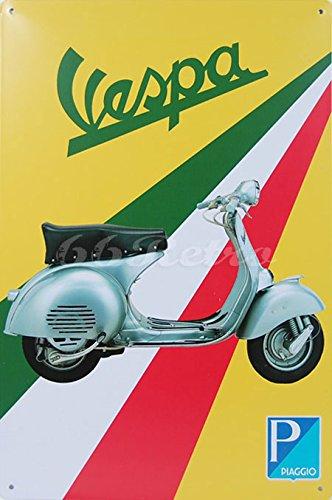 Klassieke Piaggio Vespa Scooter, Metalen Tin Sign, Vintage Stijl muur Ornament Decor, Maat 8