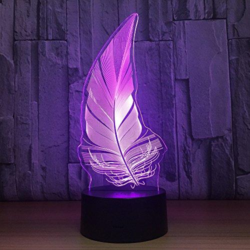 3D Led Luz De Noche Pluma de ave 7 Colores Lámpara De Decoración Cambio - Regalo Perfectos Para Niño, Ilusión Óptica,Lámpara,Luz Nocturna