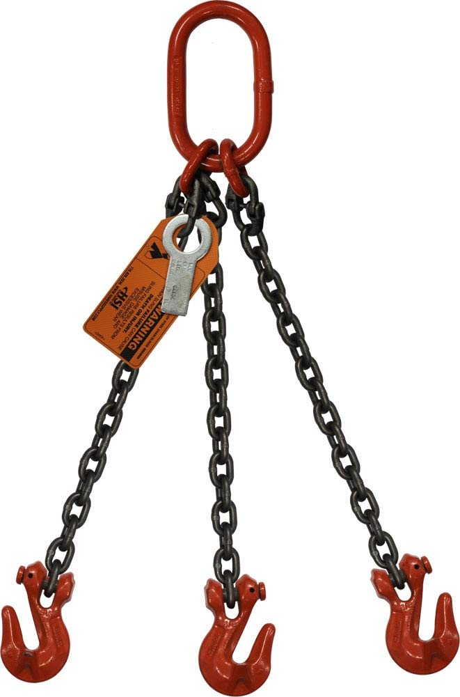 Grade 100 Alloy HSI 9//32 x 5 Three Leg Bridle Chain Sling 3//4 Master Link 11,200 Lbs WLL Oblong Link-to-Grab Hook Ends