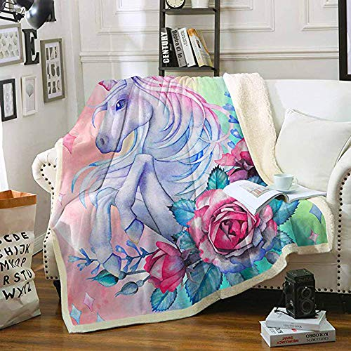 FairyShe Kids Sherpa Throw Blanket, Cartoon Chlidren Plush Blanket with Lifelike Horse and Flowers,Adult Soft Worm Fleece Blanket for Bed Couch Chair Living Room (50'x60', Flowers)