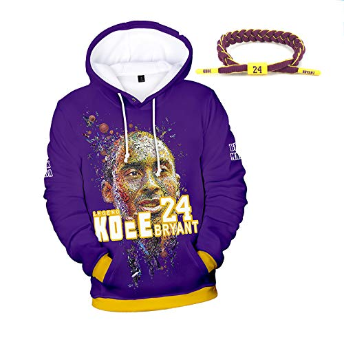3D Print con Capucha Lakers Bryant 24 Número de Baloncesto, el otoño del Resorte Suelta de Manga Larga Jersey, Pulsera con Bryant Nombre, edición Conmemorativa Purple-XXXL