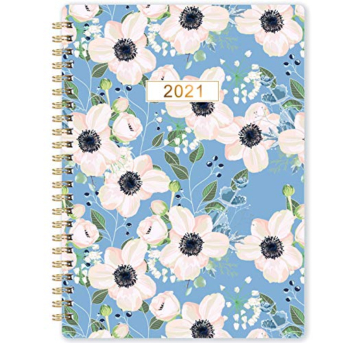 2021 Monthly Planner - 12-Month Planner with Tabs & Pocket, Contacts and Passwords, 6.3' x 8.4', Thick Paper, Jan. - Dec. 2021, Twin-Wire Binding - Flower by Artfan
