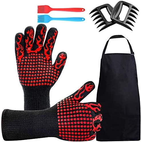 Non Slip BBQ Gloves Kitchen Oven Mitts Heat Resistant 1472 Barbecue Grilling Sets with Cooking product image