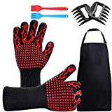 Non-Slip BBQ Gloves, Kitchen Oven Mitts Heat Resistant 1472℉, Barbecue Grilling Sets with Cooking Gloves, Grill Brush, Meat Claws & BBQ Apron for Baking Frying Welding Cutting, Fireplace and Microwave