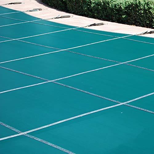 Cobertor solar para piscinas Rectangular en el Suelo Tapete Protector de Piscina, Película de Seguridad para Piscina Flotante Hotel con Jardín en Casa, Kit de Hardware de Alta Resistencia Incluido