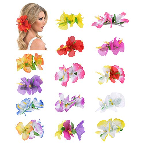 14 Pack Fake Artificial Silk Tropical Hibiscus Flower Hair Clips Barrettes Clamps Bows With Clear Alligator Brooch Pins Hawaiian Luau Hula Party Wedding Bridal Dancer Hair Piece Accessories for Women