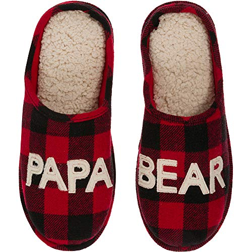 Dearfoams Men's Papa Bear Slipper, Buffalo Plaid, Medium