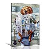 FADALO ART Cute Dog Reading the Newpaper on Toilet Canvas Wall Art Ideas Animal Art Prints for Bathroom Living Room Decor Funny Theme Poster Framed Painting Modern Artwork Home Decoration 12'x16'