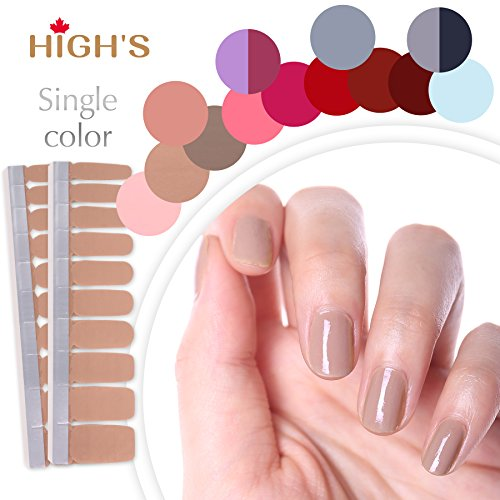 HIGH'S Upgrade EXTRE Adhesion Nail Wraps Decals Art Transfer Sticker Collection Manicure DIY Fullnail Polish Patch Strips for Wedding, Party, Shopping, Travelling, 20pcs(Sienna)