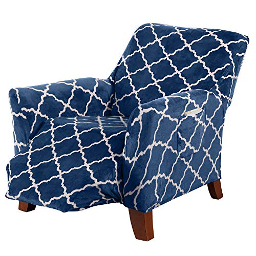 Great Bay Home Modern Velvet Plush Recliner Slipcover. Strapless One Piece Stretch Recliner Cover. Recliner Cover for Living Room. Magnolia Collection Slipcover. (Recliner, Navy)