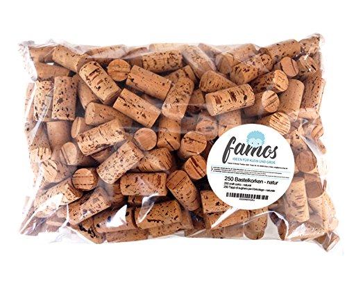 famos-shop 250 Tappi di Sughero di Vino/Bottiglie per Il bricolage – Naturale – Nuovo – 24 mm x 45 mm