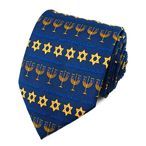 Jacob Alexander Boys' Prep Happy Hanukkah Stripe Star of David Menorah Regular Length Neck Tie