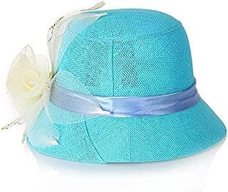 Hbssee- Women's New Sun Hat Linen Fashion Sun Hat Elegant Hat Casual Dome Sun Hat (Color : Blue, Size : M56-58cm)