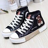 Zapatos De Lona Altos Para Mujer Otoño E Invierno Más Zapatos Blancos De Terciopelo Dos Zapatos De Algodón Zapatos De Tabla Para Mantener El Calor 37 Oso negro y pardo [más cachemira]
