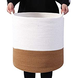 MINTFREE Large Rope Baskets 16″x18″ Toys Box Woven Baskets Laundry Basket Rope Storage Hampers for Baby, Blankets, Toys, Nurseries, Pillows and Sundries