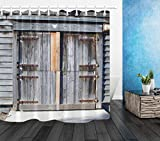 taquxinlaowan Sunshine Rustic Old Barn Door Cortina de Ducha Set Baño Tela Impermeable