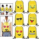 Emoji Rucksack, MOOKLIN 6 Packs Drucken Rucksack Party Favors für kindergeburtstag Gastgeschenk...