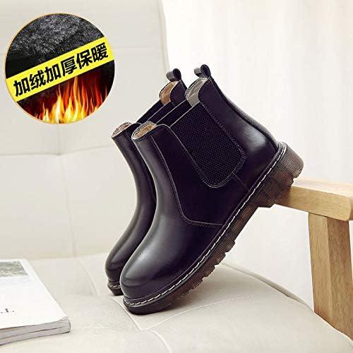Shukun Botines botas Martin zapatos Femeninos elásticos de otoño Wind Rub botas Cortas marrón Invierno