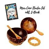 Meer Coco Kokosnuss Schale Geschenk Set 2 große Schalen XL inkl. Natur Holz Löffel und Untersetzer Ideal für Buddha oder Frühstücks Bowl, Snack- und Salatschüssel