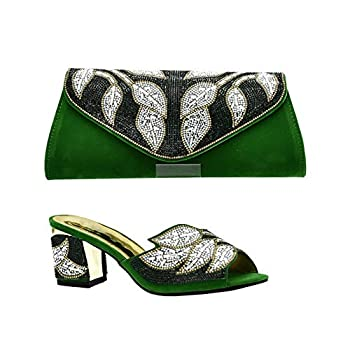 Black Color Italy Shoe and Bag Set African Women Italian Shoes with Matching Bag Set,Green,8.5