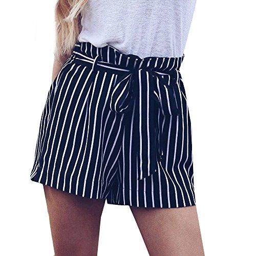 KUDICO Damen Shorts Retro Gestreifte Kurz Hose Beach Sommerhosen mit Elastischem Taillenband High Waist Sporthosen Hotpants Strandshorts(Marine 2, EU-38/CN-L)