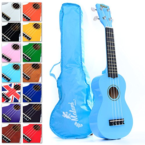 Best Light Blue Soprano Ukulele with Bag, plus 150+ downloadable pages of Uke Songs, Chords, String Stretching Video etc.