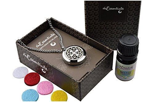 """mEssentials Cross Essential Oil Diffuser Necklace Stainless Steel Locket Pendant with 24"""" Chain, oil, and pads in Gift Box"""