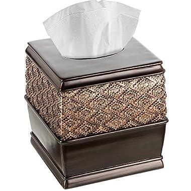 Creative Scents Dublin Square Tissue Box Cover (6  x 6  x 6.2  H) Decorative Bathroom Tissues Paper Holder, Modern Napkins Container, Bottom Slider, For Cute Elegant Bathroom Decor (Brown)
