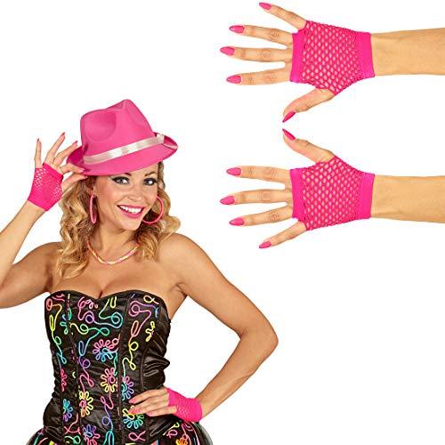 NET TOYS Stylische Fingerlose Netz-Handschuhe im 80s Look - Pink - Schrilles Damen-Kostüm-Zubehör Pulswärmer - Genau richtig für Fasching & Karneval