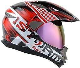 Dual Sport Helmet Motorcycle Full Face Motocross Off Road Bike Storm Red