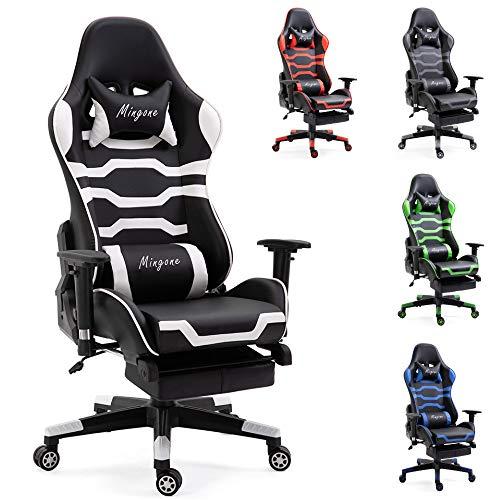 Mingone Essentials Gaming Stuhl Racing Stuhl Computerstuhl Chefsessel Höhenverstellbarer Schreibtischstuhl Ergonomisches Design mit Verstellbaren Armlehnen und Wippfunktion (weiß+mit Pedalen)