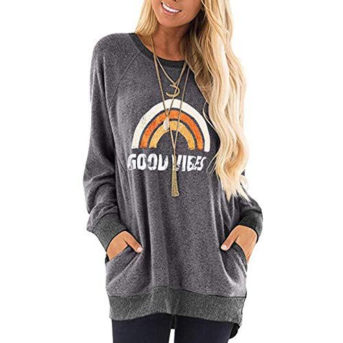 Otoño e Invierno Cosido en Contraste Camiseta de Manga Larga con Estampado de Leopardo suéter Suelto Mujer