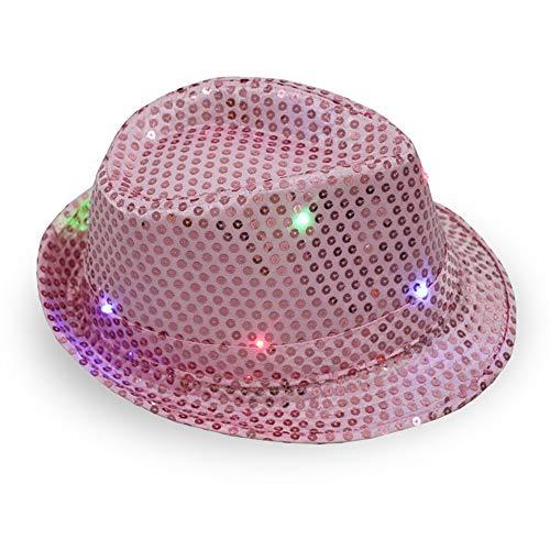 ddellk LED-jazz-hoed, knipperend, knipperend sequin-jazz-kap voor feest-kerstpodiums-performance-glut-hoed 58cm Adjustable roze